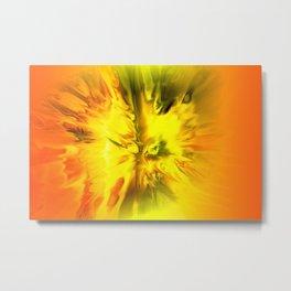 Blazing Yellow Abstract Metal Print