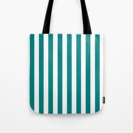 Narrow Vertical Stripes - White and Dark Cyan Tote Bag