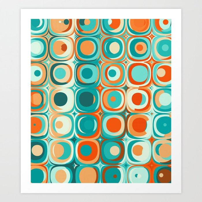 Orange and Turquoise Dots Kunstdrucke