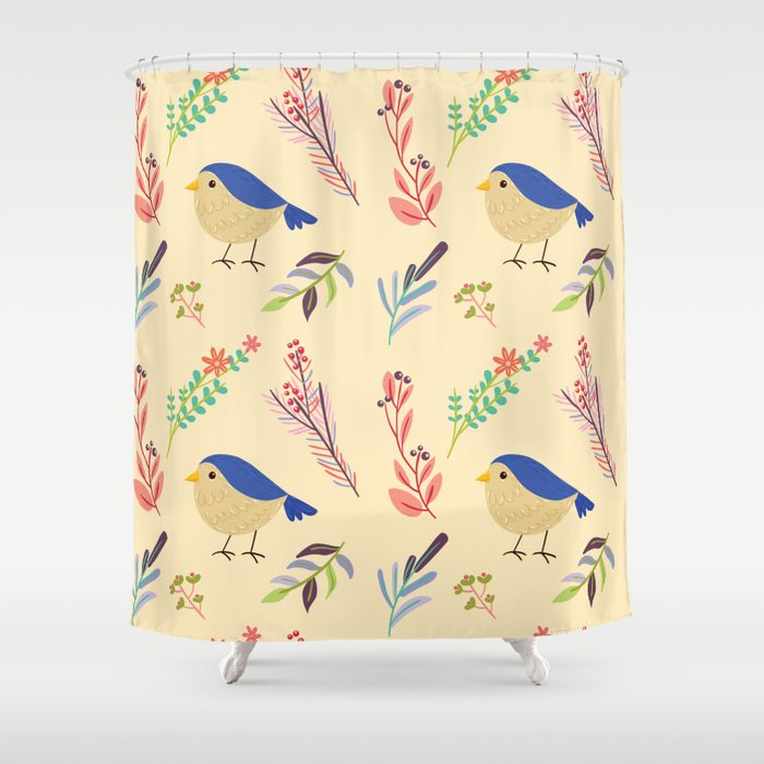 Cute Hand Painted Blue Coral Ivory Bird Floral Pattern Shower Curtain By Pink Water