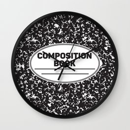 Composition Notebook College School Student Geek Nerd Wall Clock