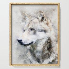 Watercolour grey wolf portrait Serving Tray