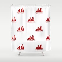 Red Sailboat Pattern Shower Curtain