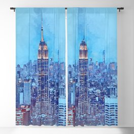 NYC Skyline Watercolor Blackout Curtain