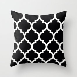 Moroccan Black and White Lattice Moroccan Pattern Throw Pillow