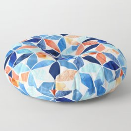 Marble Mosaic Blues & Rustic Reds Floor Pillow