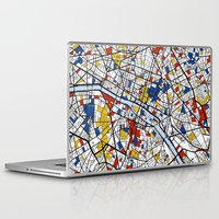 paris map Laptop & iPad Skins featuring Paris by Mondrian Maps