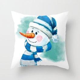 Blue Snowman 02 Throw Pillow
