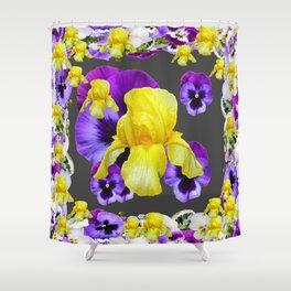 YELLOW IRIS PURPLE & WHITE PANSY GARDEN ART Shower Curtain