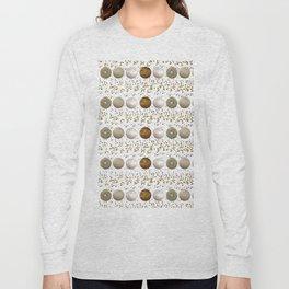 Modern white faux gold sequins geometrical dots stripes Long Sleeve T-shirt