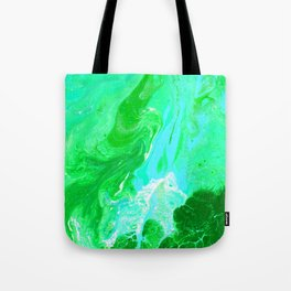 Green, Blue, and White Fluid Acrylic Abstract Painting 2 Tote Bag