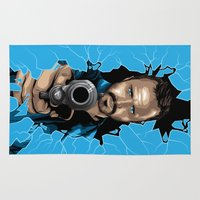 jesse pinkman Area & Throw Rugs featuring Jesse Pinkman -Blue by Denis O'Sullivan