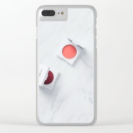 Makeup On Marble Background Clear iPhone Case