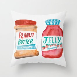 Peanut Butter & Jelly Watercolor Throw Pillow