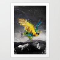 parrot Art Prints featuring Parrot by Elias Klingén
