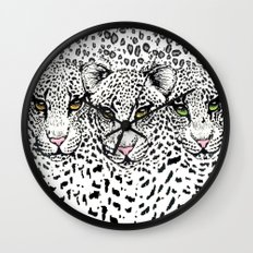 THREE SNOW LEOPARDS Wall Clock