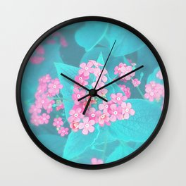 Forget Me Knot - Pink Heart little flowers Wall Clock