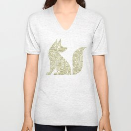 Circuit Board Fox  Unisex V-Neck