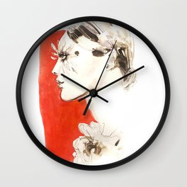 Feather lashes. Fashion illustration Wall Clock