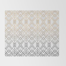 Gold And Grey Geo Throw Blanket