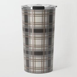 Brown Plaid with tan, cream and gray Travel Mug