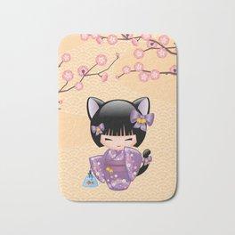 Japanese Neko Kokeshi Doll V2 Bath Mat
