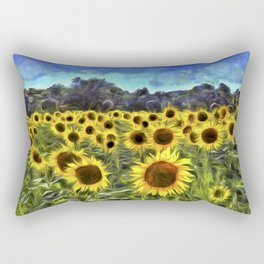 Sunflower Fields Of Dreams Van Goth Rectangular Pillow