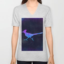 ROADRUNNER IN SPACE // Animal Graphic Art // Watercolor Canvas Painting // Modern Minimal Cute Unisex V-Neck