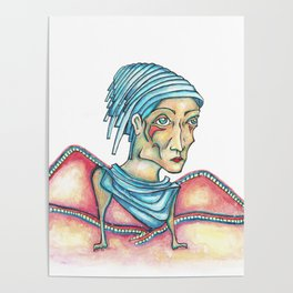 Blue Hat Woman Poster