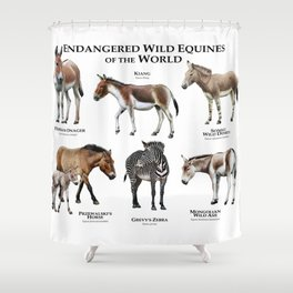 Endangered Equines of the World Shower Curtain