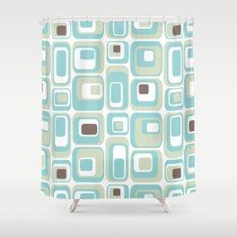 Retro Rectangles Mid Century Modern Geometric Vintage Style Shower Curtain