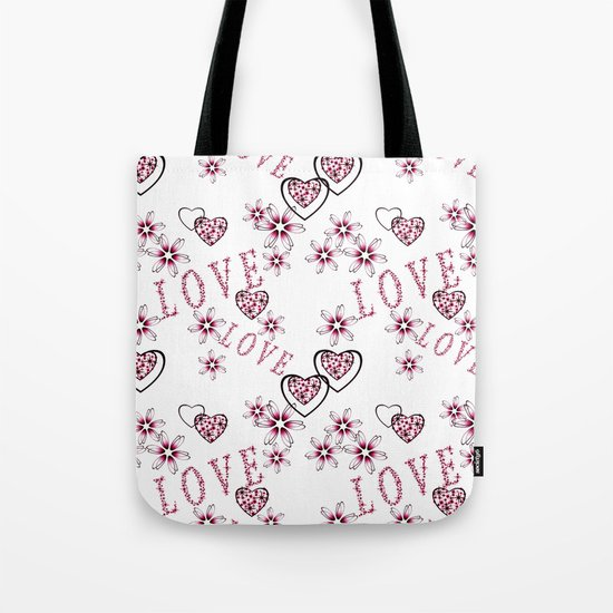 Openwork pattern with hearts. Tote Bag