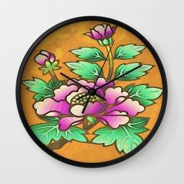 Antique peony Wall Clock