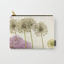 Tall Green Allium Plants and Pink Star Flowers Carry-All Pouch