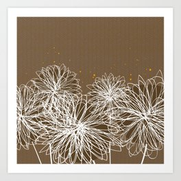 Brown Doodle Floral by Friztin Art Print