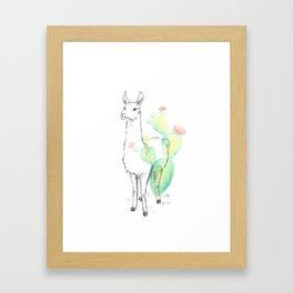 Llama cactus ink and watercolor Framed Art Print