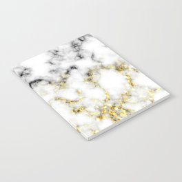 Black and white marble gold sparkle flakes Notebook