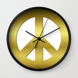 Golden CND Peace Symbol Wall Clock