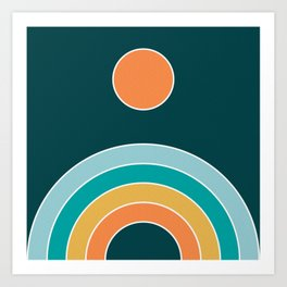 Retro Rainbow - teal and orange palette Art Print