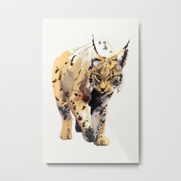 Watercolor Lynx on a paper textured background - painting - nature - wildlife - large cat - Lynxes Metal Print