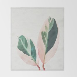 Pink Leaves I Throw Blanket