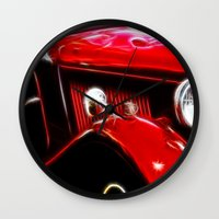 ford Wall Clocks featuring Ford V8 by Shalisa Photography