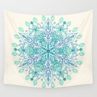 snowflake Wall Tapestries featuring Peppermint Snowflake on Cream by micklyn