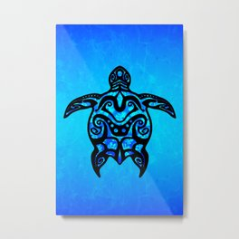 Tribal Turtle Hibiscus Metal Print