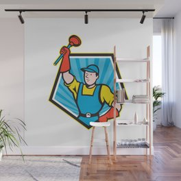 Super Plumber Wielding Plunger Pentagon Cartoon Wall Mural