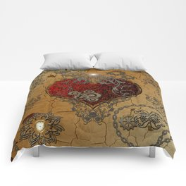 Steampunk, awesome heart Comforters