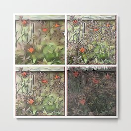 Window Frame Tiger Lily Collage Metal Print