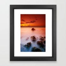 Sunset at Rocky Coast Framed Art Print