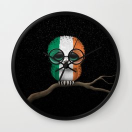 Baby Owl with Glasses and Irish Flag Wall Clock