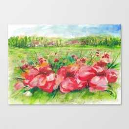 Red Flower Field Watercolors Canvas Print
